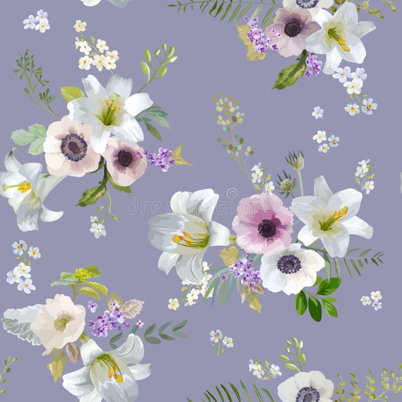 Lírio do vintage e Anemone Flowers Background - teste padrão sem emenda do verão ilustração stock