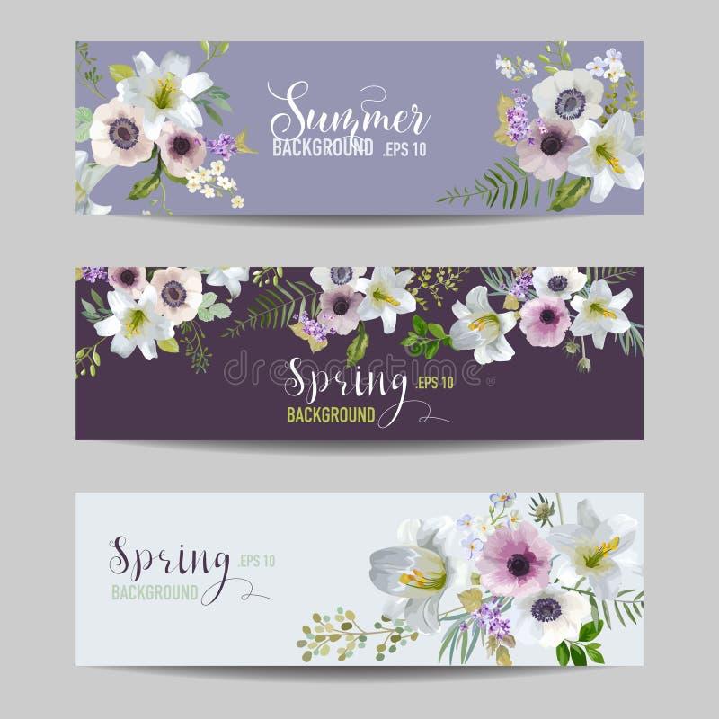 Lírio e Anemone Flowers Floral Banners e etiquetas ajustados ilustração do vetor