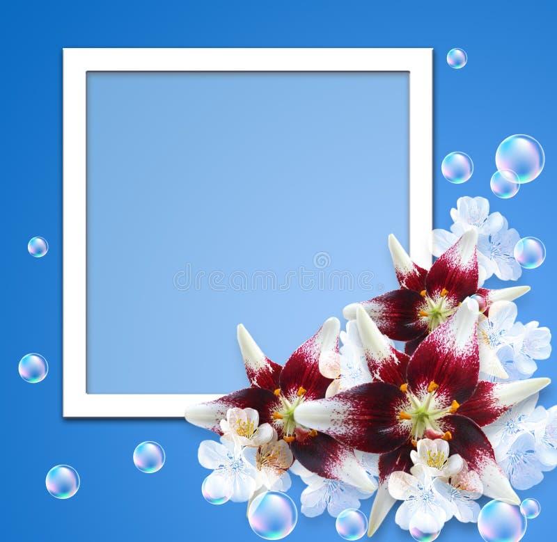 Lírio e flores brancas ilustração royalty free
