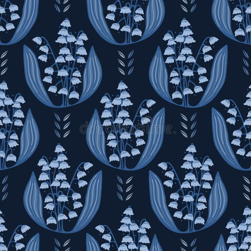 Lírio tirado mão de azul de índigo da ilustração floral do damasco do vale ilustração stock