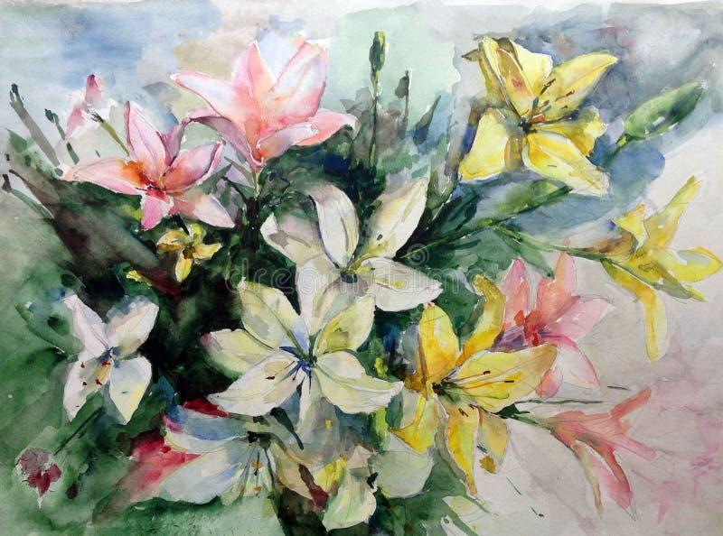 Lírios coloridos da flor do fundo da arte da aquarela imagens de stock royalty free