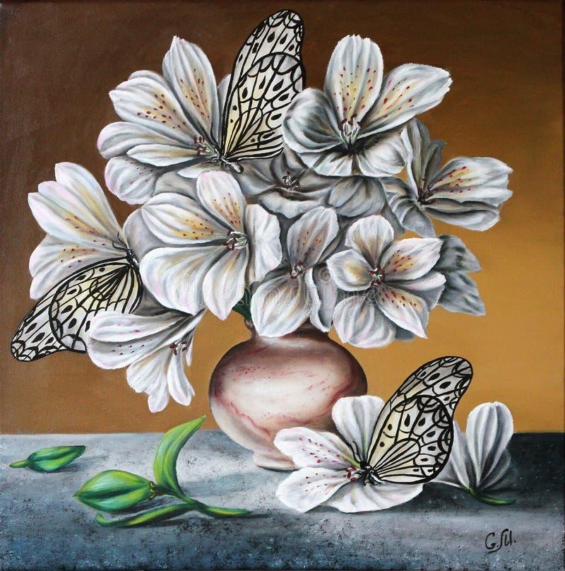 Lírios com borboletas Flores em um jarro Pintura Petróleo na lona ilustração stock
