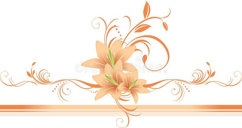 Lírios com o ornamento floral na beira à moda ilustração royalty free