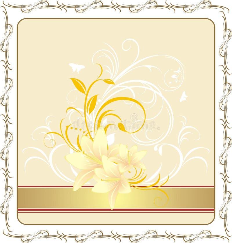 Lírios com o ornamento floral no frame ilustração do vetor