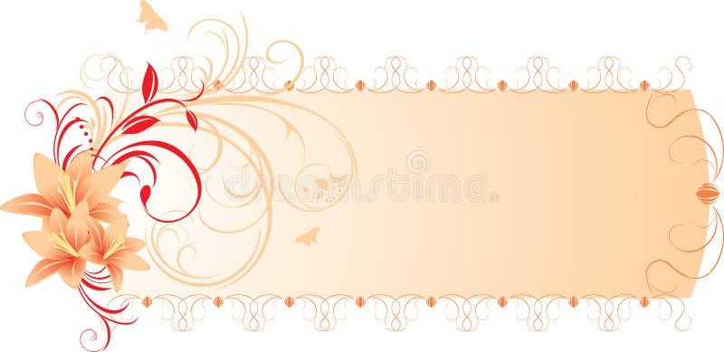 Lírios com ornamento floral. Bandeira ilustração stock
