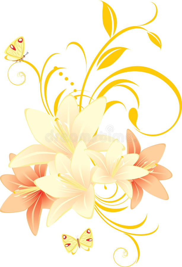 Lírios com ornamento floral e borboletas ilustração royalty free