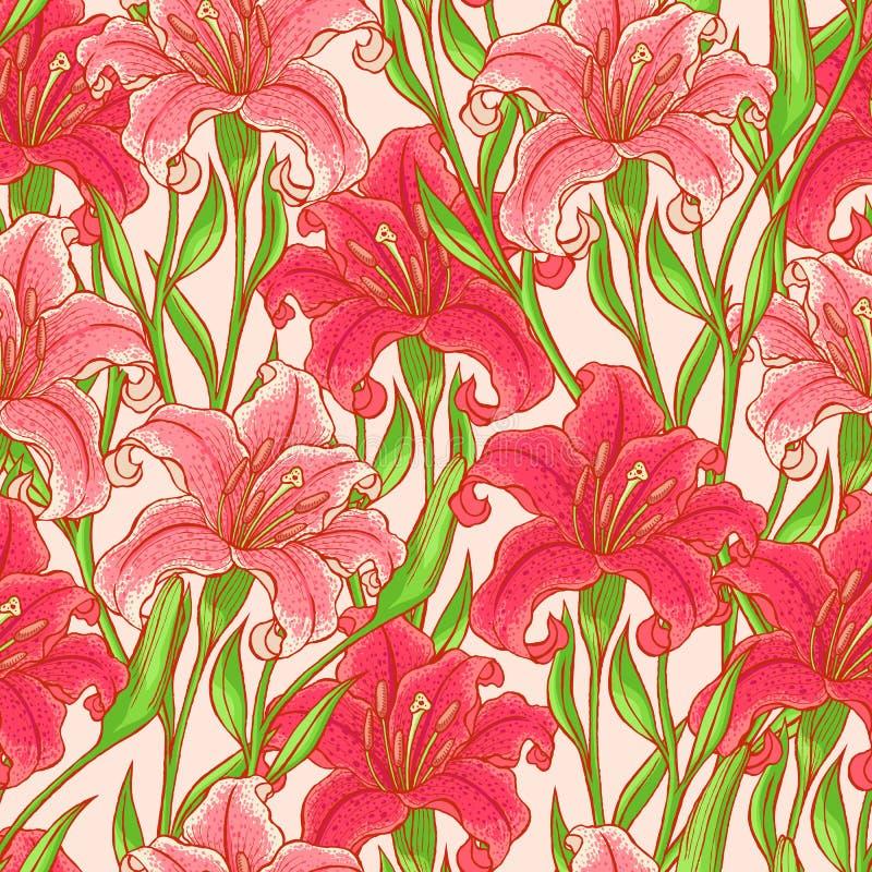 Lírios cor-de-rosa sem emenda ilustração stock