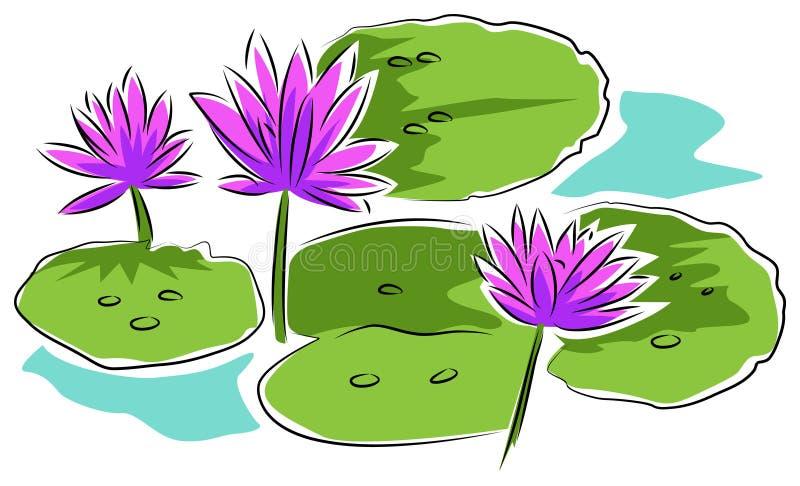Lírios de água ilustração do vetor