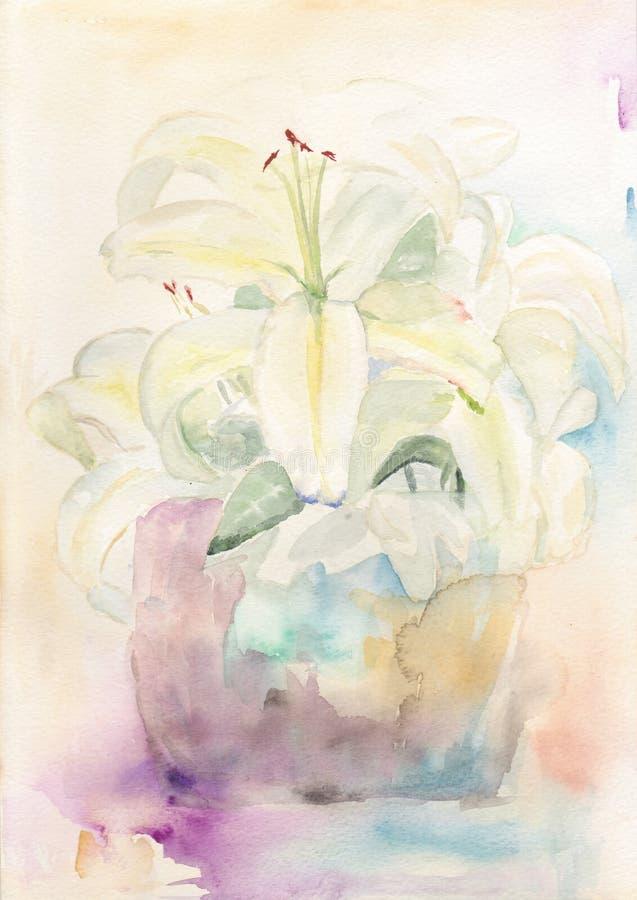 Lírios do Watercolour ilustração do vetor