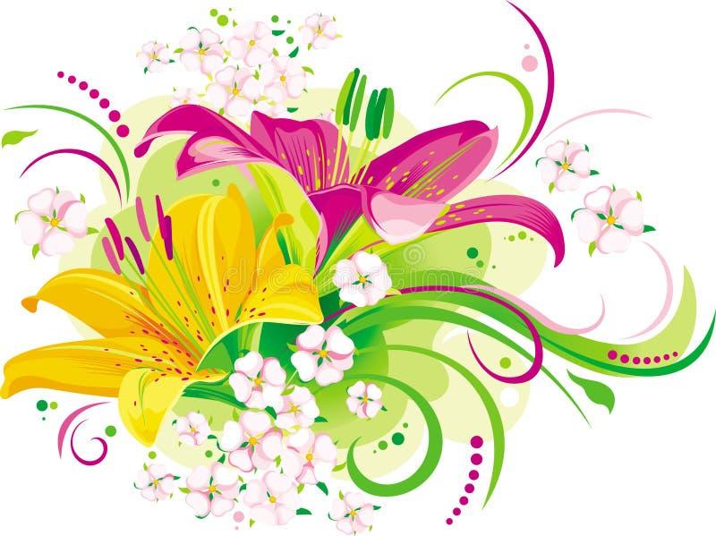 Lírios e flores pequenas ilustração do vetor