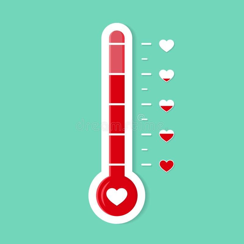 Lóbulo del corazón del medidor del termómetro Icono de gol romántico Nivel de calor del amor Escala de temperatura para la tarjet libre illustration