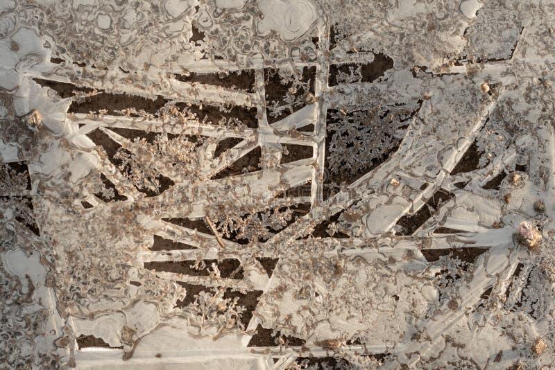 Lód i Łamający lód Nad Błotnistym śladem zdjęcie royalty free