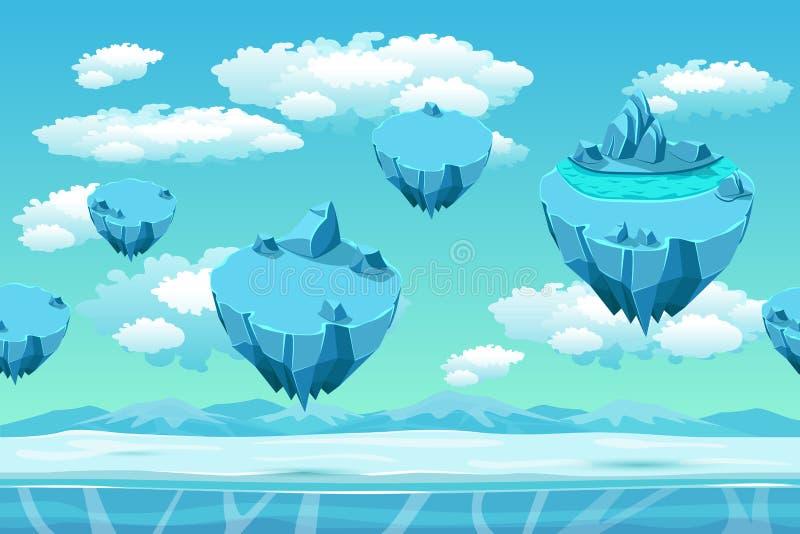 Lód i śnieg z lodowymi wyspami Bezszwowy gra krajobraz Kreskówki tło dla gier ilustracji