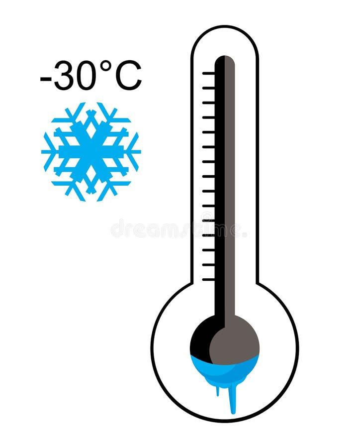 Lód - zimny termometr ilustracji