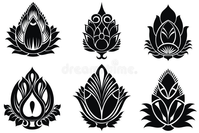 Lótus decorativos ajustados ilustração royalty free
