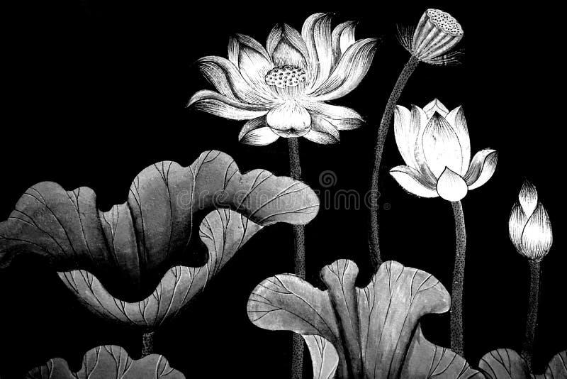 Lótus preto e branco abstratos ilustração do vetor