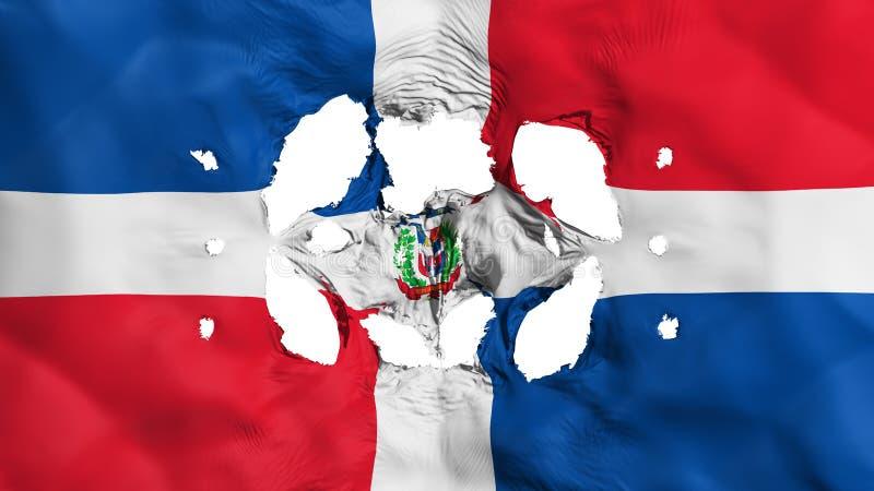 Löcher in der Flagge der Dominikanischen Republik stock abbildung