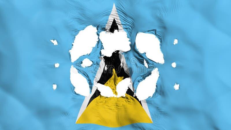 Löcher in der St. Lucia-Flagge stock abbildung