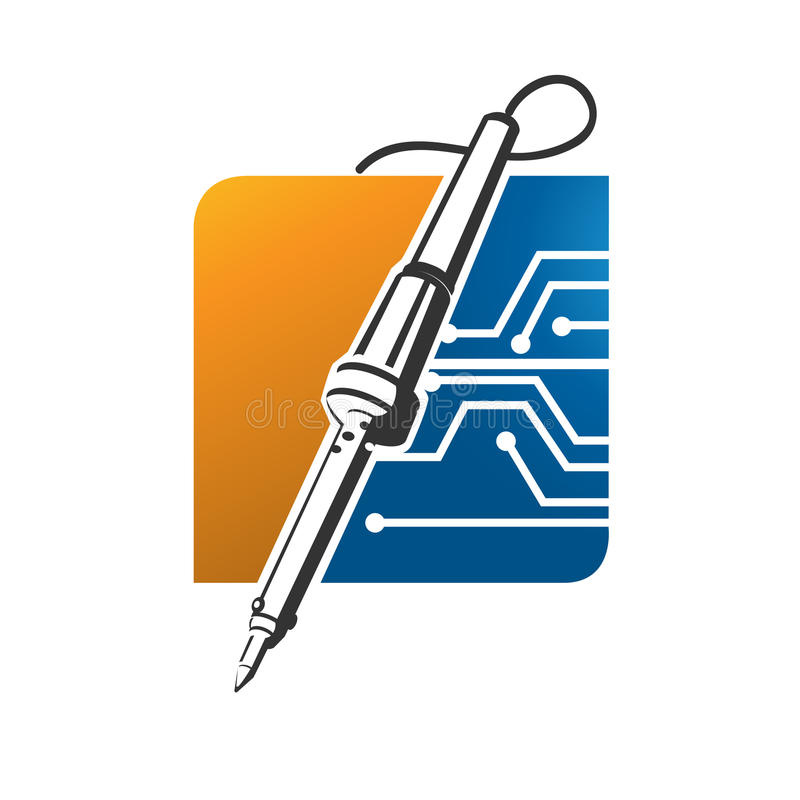Löda logo för svetsningjärnhjälpmedel stock illustrationer