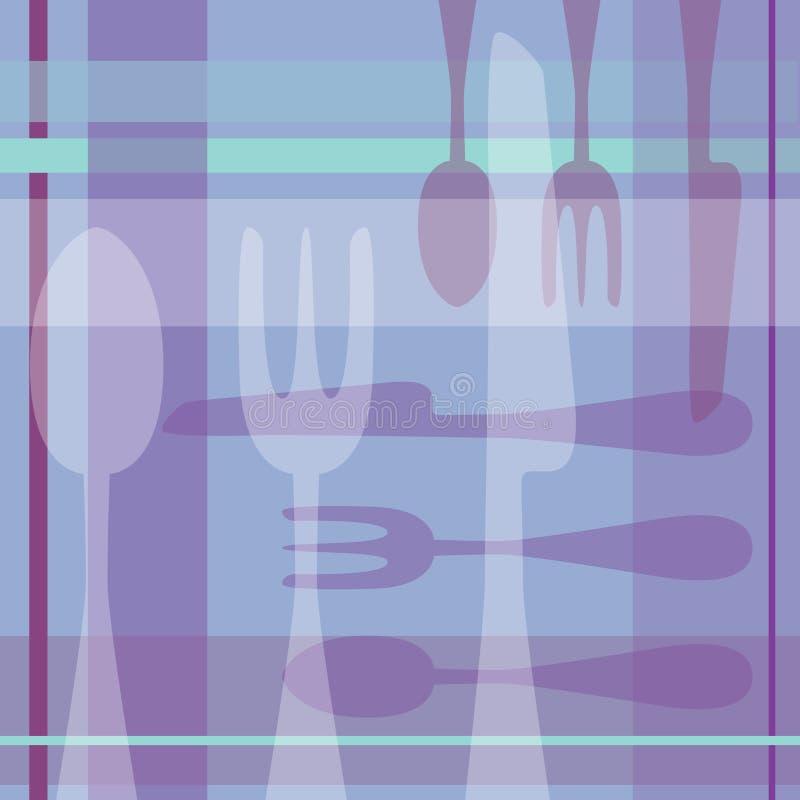 Löffel-Gabel-Messer-Purpurhintergrund lizenzfreie abbildung