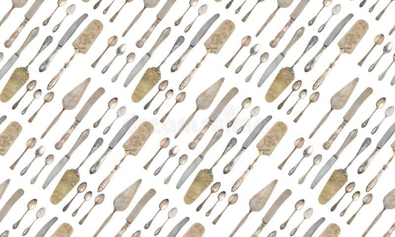 Löffel, Gabeln, Messer lokalisiert auf weißem Hintergrund vektor abbildung