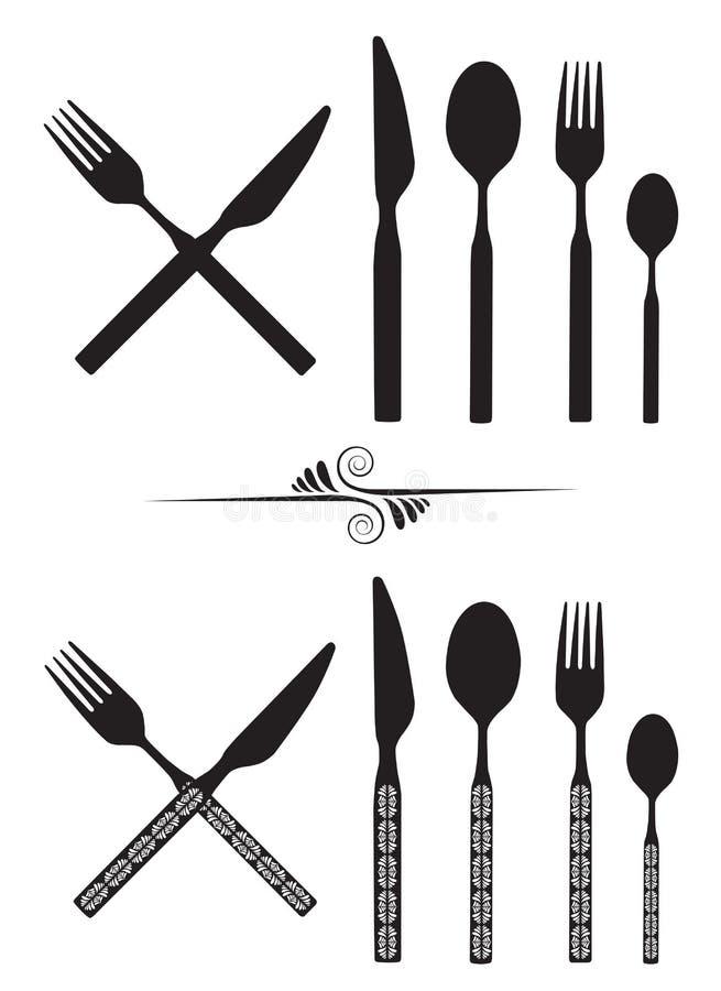 Löffel, Messer und Gabel lizenzfreie abbildung