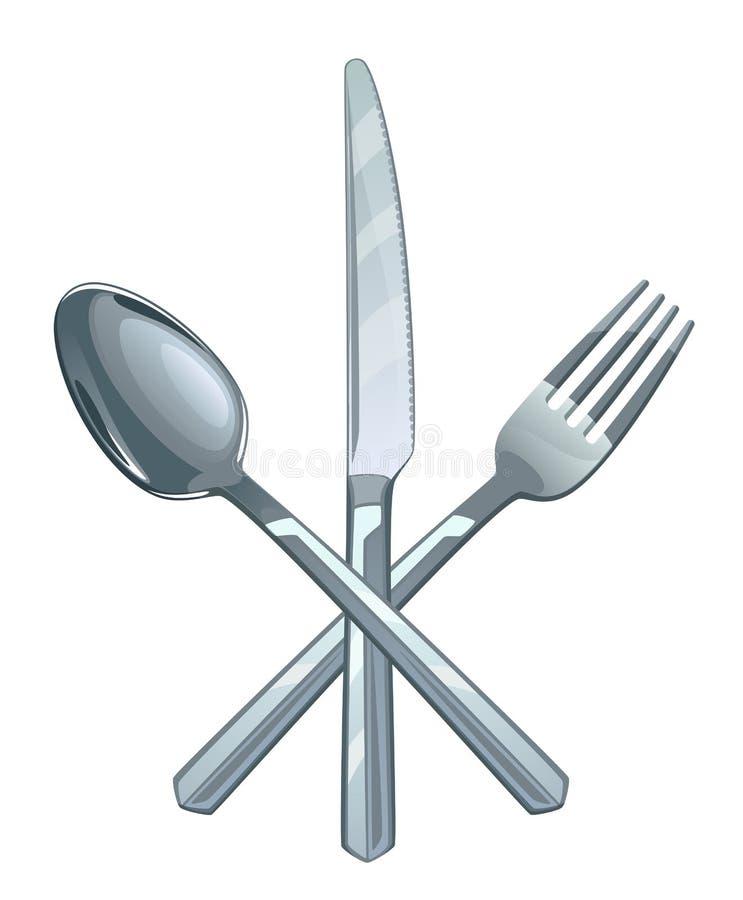 Löffel mit Gabel und Messer stock abbildung