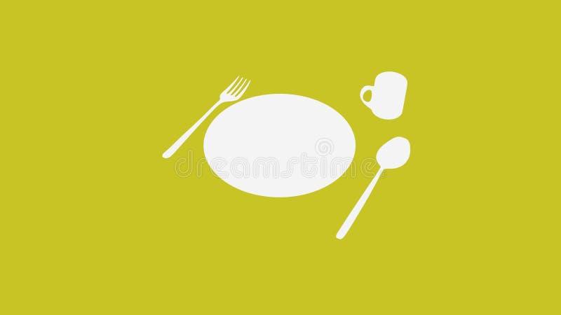 Löffel und Gabel und Platte und Schale auf dunklem Gelb stock abbildung