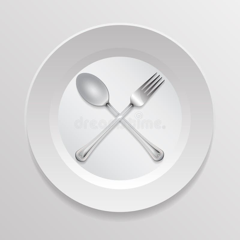 Löffel und Gabeln auf einer Platte lizenzfreie abbildung