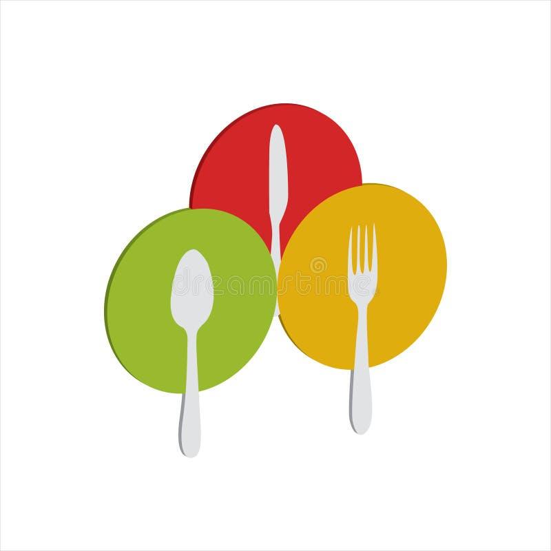 Löffel und Gabeln und Messer in jeder farbigen Platte stock abbildung