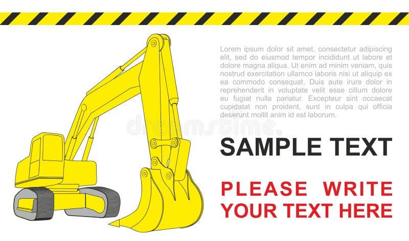 Löffelbagger, gelber Bagger, Baumaschinen Einfaches Baggerkonzept stock abbildung