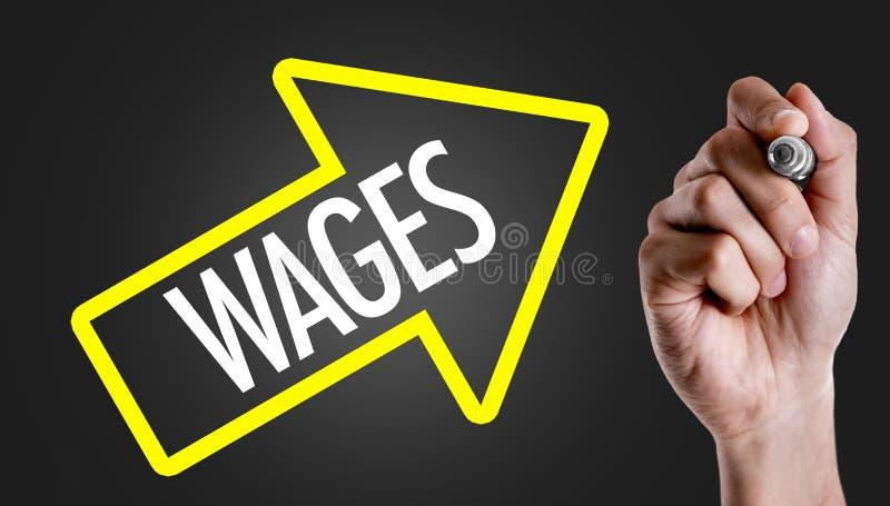 Löhne auf einem Begriffsbild stockbilder