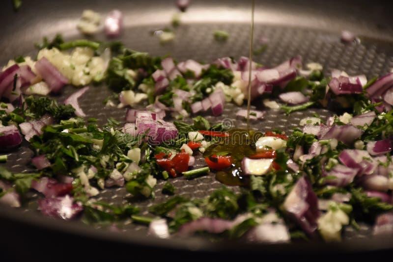 Lök vitlök, persley, sano som är sund, kök, matlagning, royaltyfri bild