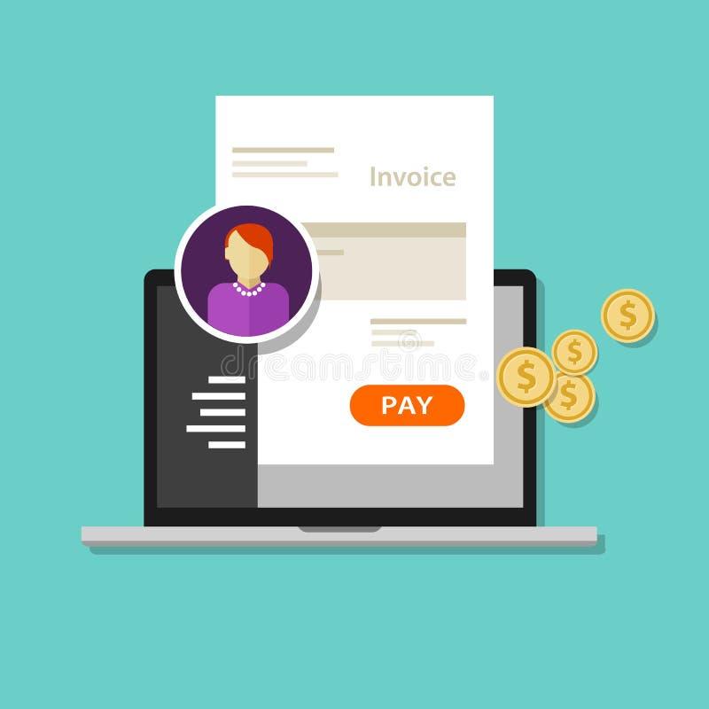 Lön för fakturafaktureringonline-tjänst royaltyfri illustrationer