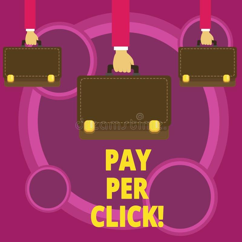 Lön för ordhandstiltext per klick Affärsidé för Get pengar från besökareannonser som annonserar SEO Marketing royaltyfri illustrationer