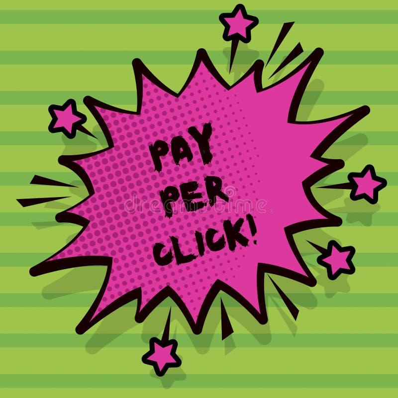 Lön för ordhandstiltext per klick Affärsidé för för Search Engine för internetadvertizingmodell strategi marknadsföring royaltyfri illustrationer