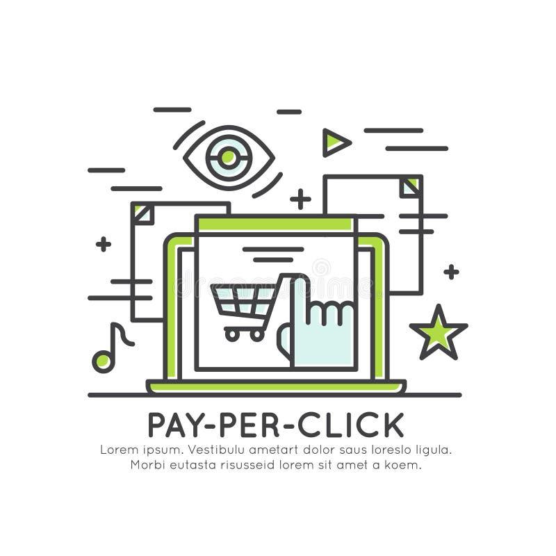 Lön per klickbegreppsmarknadsföring, banerannonsering, internetmarknadsföring stock illustrationer