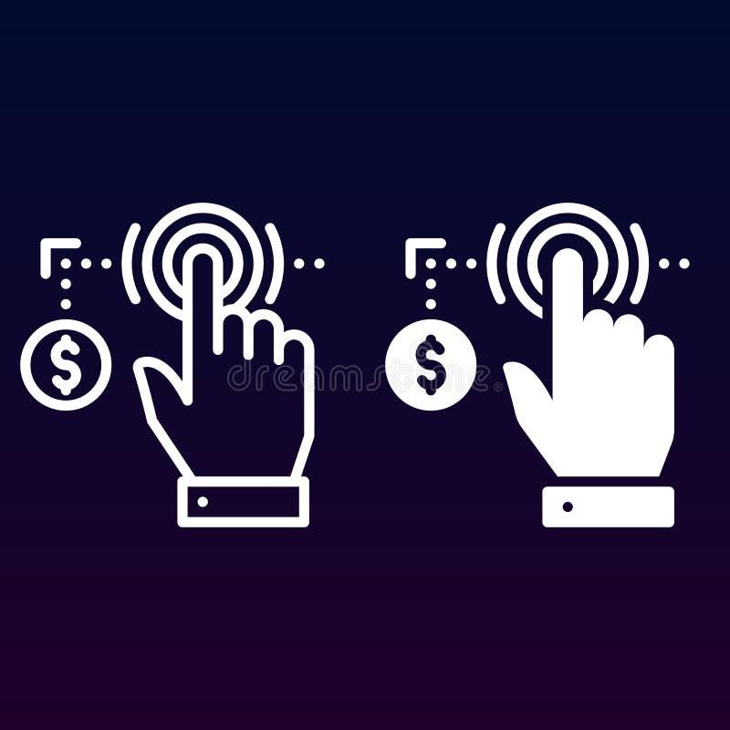 Lön per klicklinje och fast symbol, översikt och fylld pictogram för tecken för vektor som linjär och full, isoleras på vit stock illustrationer