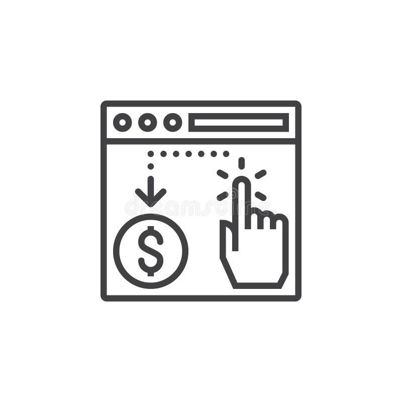 Lön per klicklinjen symbol, översiktsvektortecken, linjär pictogram stock illustrationer