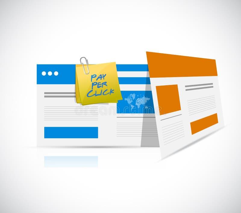 lön per klickwebbläsaremall stock illustrationer