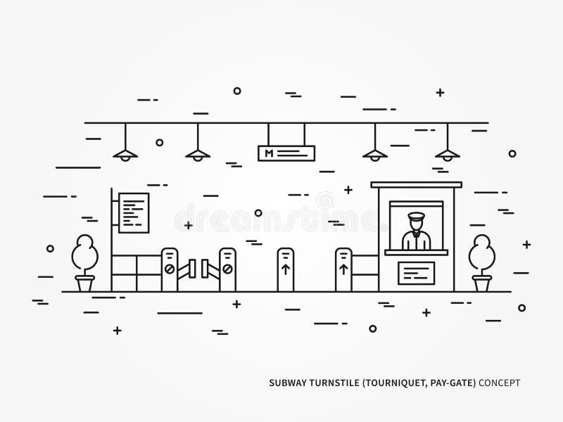 Lön-port för gångtunneltunnelbanavändkors, linjär vektorillustration för kompressor stock illustrationer