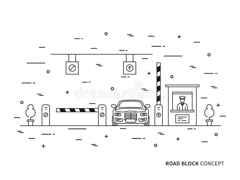 Lön-port för vägtestpunktstation, linjär vektorillustration för kompressor vektor illustrationer