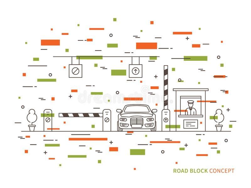 Lön-port för vägtestpunktstation, linjär vektorillustration för kompressor royaltyfri illustrationer
