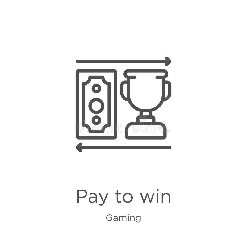 lön som segrar symbolsvektorn från att spela samlingen Tunn linje lön som segrar illustrationen för översiktssymbolsvektor Översi stock illustrationer