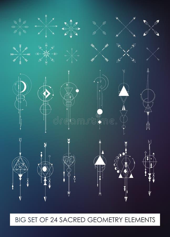 Lönande packe för härlig högkvalitativ sakral geometri royaltyfri illustrationer