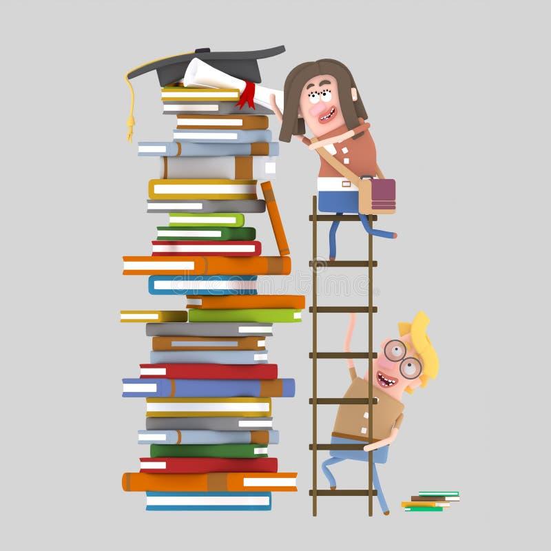 Löneförhöjningar för ung kvinna på en momentstege royaltyfri illustrationer