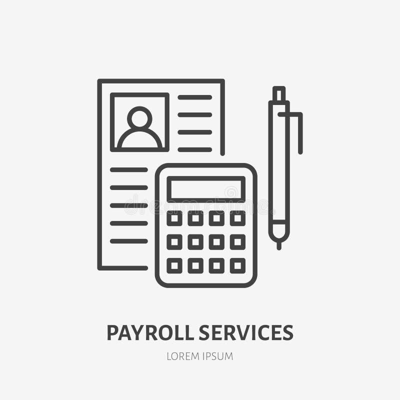 Lönelista med consultatorlägenhetlinjen symbol Tecken för personalredovisning Tunn linjär logo för lagliga finansiell rådgivning vektor illustrationer