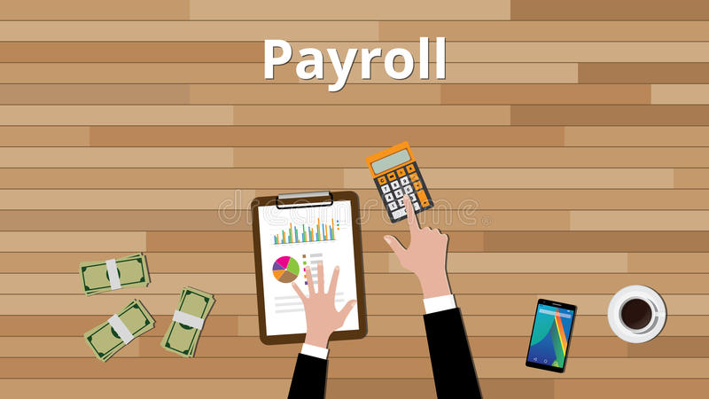 Lönelistabegrepp med affärsmannen som arbetar på något pappers- dokument med räknemaskinen och pappers- dokument med grafen och d stock illustrationer