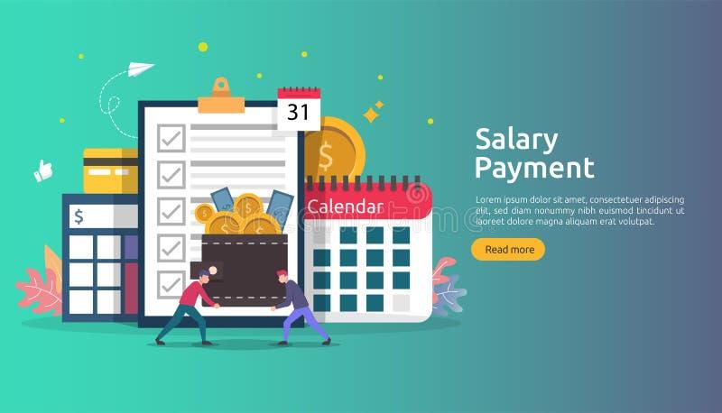 Lönelistainkomstbegrepp årlig bonus för lönbetalning utbetalning med papper, räknemaskinen och folkteckenet Reng?ringsduk som lan vektor illustrationer