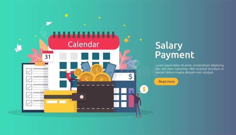 Lönelistainkomstbegrepp årlig bonus för lönbetalning utbetalning med papper, räknemaskinen och folkteckenet Reng?ringsduk som lan stock illustrationer